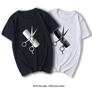 RAEEK Hip-Hop Simple Splicing Tee Tops Shirt Short Sleeve Men Gift Hairdresser Stylist Scissors Comb O-Neck T Shirts MX200508