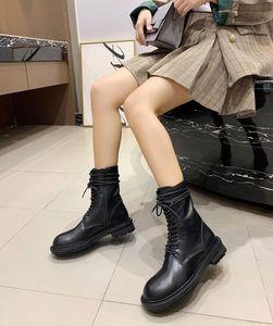 Hot Head Vente-Noire ronde automne hiver femme cheville bottes Flats Chaussures Slip Femme Martin à court Bottes design piste pour dames bottillons