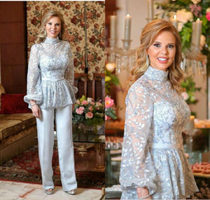 Light Blue Mother of The Bride Groom Suit 2020 High Neck Lace Embroidery Long Sleeve Mother Occasion Evening Party Pant Suit