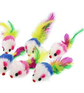 10Pcs / lot 고양이 깃털에 대 한 다채로운 소프트 양 털 False 마우스 장난감 재미 있은 애완 동물 강아지 고양이 작은 동물 깃털 장난감 새끼 고양이