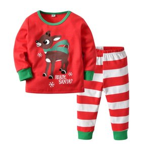 Children's home clothes children's CHRISTMAS PAJAMAS Set Boys' and girls' Red Printed Christmas deer striped pants two piece set