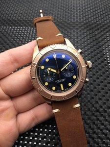 Relógio dos homens da moda Japão VK esférico revestido relógio de Rotação anel de aço tampa inferior hidráulica parafuso-em bloqueio 44mm pin cinto fivela marca