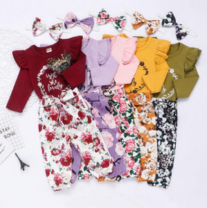 Baby Girl Clothes Printed Letter Romper Floral Trousers Headband 3pcs Sets Ruffle Long Sleeves Princess Outfits Baby Clothing BT5263