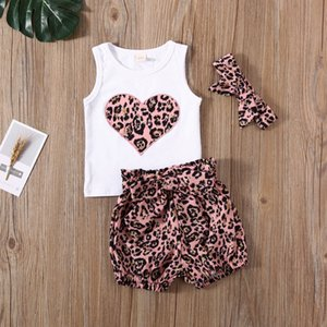 0-24M Newborn Infant Baby Girls Clothes Set Leopard Heart Vest Tops Shorts Outfits Summer Baby Girl Costumes