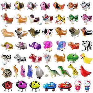 Hélium Marcher Pet Ballon animaux Ballon Foil pour le mariage de fête d'anniversaire Noël fournitures cadeaux pour enfants Cartoon Jouets 40Styles XD21786