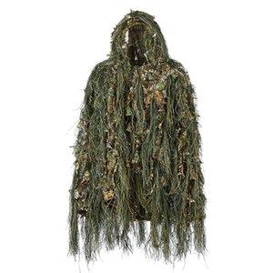 Ghillie Anzug Jagd Wald 3D Bionic Blatt Disguise Uniform Cs Tarnanzüge Set Dschungel-Zug-Jagd-Tuch
