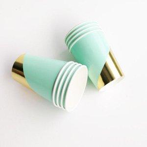 Altın Mavi Kağıt bulaşığı Doğum Parti Süsleri Çocuk Yetişkin Doğum Kağıt Tabaklar Peçeteler Bardaklar Pipetler Disposable Sofra