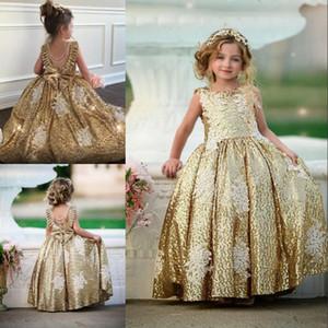 Moda Ouro Lantejoula Vestidos menina Lace Applique Primeira Comunhão vestidos para meninas vestir mangas Backless Com Bow