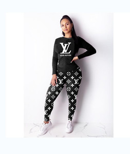 Two-piece Europe and America Women letter printing Crew neck Complete clothing fashion Leisure Wild Sportswear new style