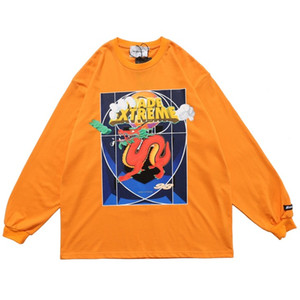 Loong Impreso T Shirts Naranja de manga larga Camisas 2020 de gran tamaño Streetwear Hip Hop Tees camisas ocasionales