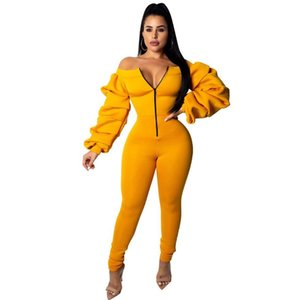 Women's Jumpsuits & Rompers 2021 Women Casual Jumpsuit Front Zipper Sexy Slash Neck Off Shoulder Long Puff Sleeve Thick Overalls
