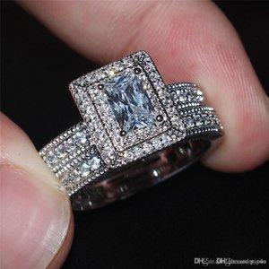 Haute Dame de Viatage 10KT or blanc rempli anneaux carré Simulé Diamant CZ Pierres Précieuses anneaux doigt ensembles de Mariage Mariée Bijoux Pour Femmes