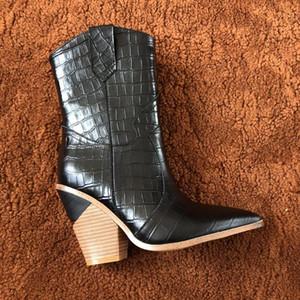 Gelb Krokodil-Prägung Frauen Ankle Boot Lady Geometric Absatz-Pumpen-Fall-Winter-Mode Motorrad Martin Stiefel 12 Farben Botas C014