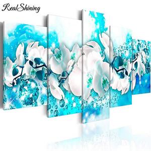 pittura diamante 5pcs White Flower Art Paintings Blue Canvas Wall Artwork Magnolia Immagine Ricamo mosaico punto croce FS5010