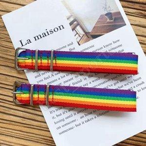 A 26 *2cm Fashion Student Nylon Rainbow Cool Bracelet Colorful Love Hand Strap Ornaments Lovely Bracelets Party Favor Zza1215 120pcs