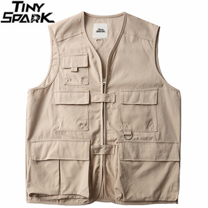 Maniche Giacche Tatical merci Vest 2020 Mens Harajuku Streetwear Vest multi tasche Hip Hop Gilet Japan Style