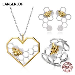 LARGERLOF 925 Sterling Silver Jewelry Sets Handmade delle donne Bee insieme d'argento 925 JS45006