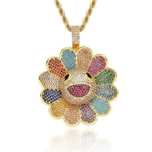 Kaiki Sun Flower Spinner Collier avec pendentif pleine strass et 24 pouces chaîne en acier inoxydable Parti HIPHOP Bijoux cadeau
