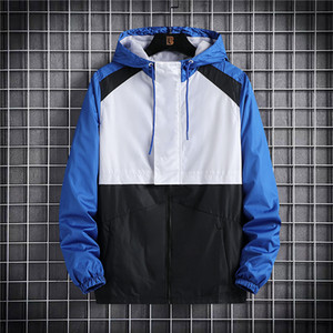 waterpo hombre del diseñador dos viajes carta chaquetas de impresión nuevas sudaderas suéter de la manera camiseta azul + blanco, windcoats en blanco y negro + luz con paneles