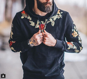 Impresso Hoodies bolso Causal moletom com capuz Flores Preto Hoodie amarelo do Men Streetwear Homens Sueter Inverno