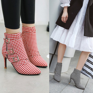 US4-13 Womens Pointed Toe Paid Mixed Colors Ankle Boots Stilettos High Heel Belt Buckle Side Zipper Shoes Black Red Plus Sz C784
