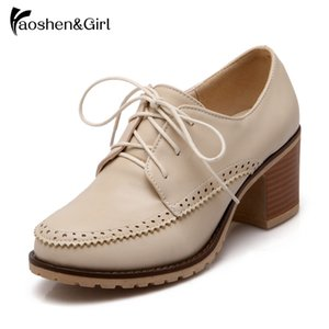 HaoshenGirl Lace-up Bombas Plataforma Primavera Office Work Salto Alto sapatos confortáveis Casual Feminino Mulher Calçado Size10.5 34-43