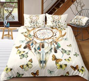Deer Schädeldruck Bettwäsche Set Königin Kreative Dreamcatcher Bettbezug König 3D Full Twin Einzel Doppelbettbezug mit Kissenbezug 3 stücke