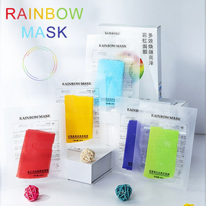 5pcs / box Cinque colori dell'arcobaleno Maschera per il viso multi-effetto idratante Brightening colorate maschere rainbow Viso maschera