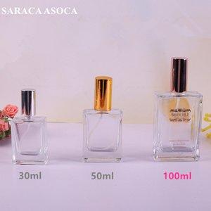 100ML زجاجة العطور الزجاج الشفاف الذهب والفضة اللون البخاخة عالية الجودة رذاذ زجاجة سميكة أسفل سعة كبيرة