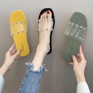Süßigkeiten Schuhe Frauen Nieten / Quadrat Schnalle / Daisy transparent Sandalen femme offen Zeheebenen klar sandales ist bequem Gelee Sandalen Frauen