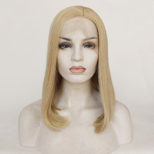 14inch Ms. Front lace mixed gold fashion bobo head chemical fiber wig long straight hair modified face support wholesale