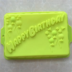 Big Rectangle Happy Birthday Silicone Cake Mold Bakeware Form For Cake Bakery Kitchen Accessories Bake Tools 34*23*4.5cm E066 T200703
