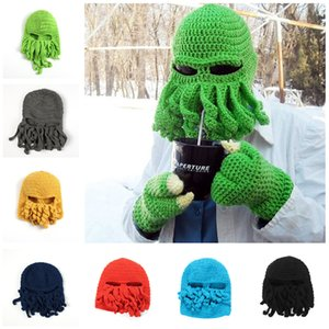 Unisex pulpo calamar Beanie Caps Hombres tentáculo de punto de lana de esquí de la mascarilla del monstruo sombreros Mar Máscaras del sombrero del ganchillo Cthulhu pulpo Cap de Halloween