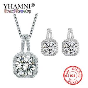 Conjuntos de joyería de boda de plata esterlina sólida YHAMNI 925 para mujer Princesa Cubic Zircon Colgante Collar Stud Pendientes Conjuntos TZ009