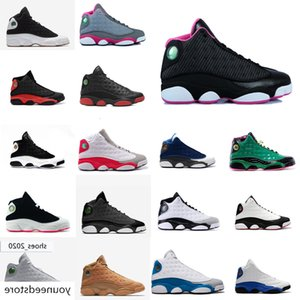 Womens retro 13s basketball shoes for sale Barons Bred Black White Blue Pin Grey Boys Girls Youth Kids aj13 Jumpman XIII sneakers with box