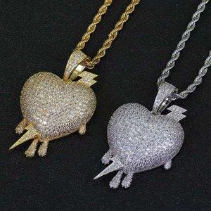 الهيب هوب البرق القلب قلادة القلائد للرجال النساء الفاخرة الماس فلاش الحب القلب المعلقات 18 كيلو الذهب مطلي النحاس مجوهرات هدايا العشاق