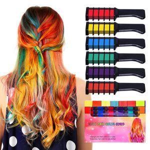 Atacado de cabelo temporária Cor Chalk Combs Kit 6 PCS Moda colorido do partido Meninas Cosplay Halloween Hair Salon tingimento Combs