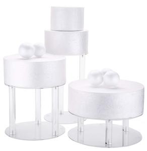 3 Ярусов Акриловый Стеклянный Круглый Свадебный Торт Стенд