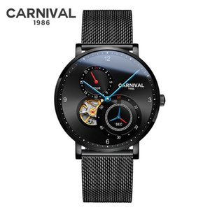 Carnival Mens Sport Watches Top Fashion Automatic Mechanical Wrist Watch Black Clock Relogio Masculino
