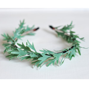 Hot Chic Foliage Handmade Woman Girls Baby Shower Bridal Shower Primitive Dusty Flower Crown Base Woodland Tiara