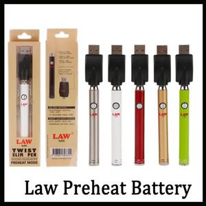 Authentique loi préchauffez la batterie avec le bouton inférieur de torsion 380mAh le vaporisateur variable de tension de stylo de vape d'égouttement mince d'ego pour l'huile épaisse DHL librement