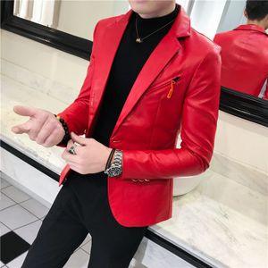 Blazer en cuir hommes classique de haute qualité de moto Bike Cowboy DJ Veste Homme plus épais manteaux Vêtements Blanc Noir Rouge 3XL