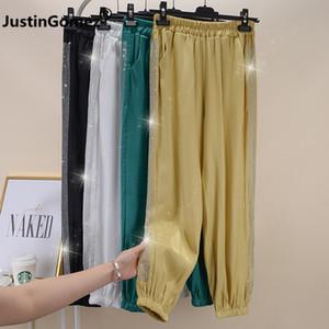 Bling Sequined Side Strip Women's Harem Plus Size Women Pants Streetwear Female Joggers Sportswear Elastic Waist Women Trousers SH190901