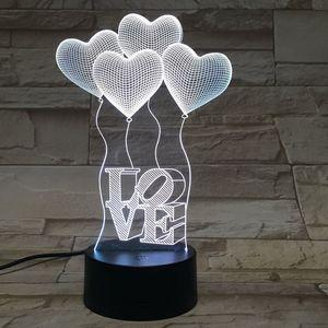 Touch four heart shaped LOVE 3D light красочный акриловый визуальный стерео настольная лампа энергосберегающий градиентный настольный ночник