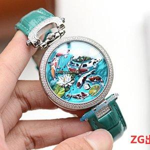 Neues Luxus-Bovet 1822 Amadeo Fleurie 3D Koi Fisch Lotus Dial Schweizer Quarz-Uhr der Frauen Diamant-Lünette Lederband Designer Unisexuhren