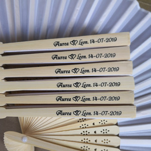 Personalized Names & Date Wedding Silk Hand Fan Folded Abanico with Organza Gift Bag+Customized Print Logo+DHL Free Shipping