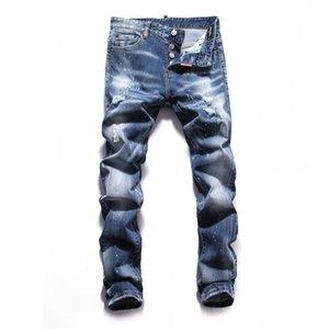 2020 Fashion Designer Fashionable high quality Mens Distressed Ripped Biker Jeans Drop Crotch Jogging Pants Mens Jeans