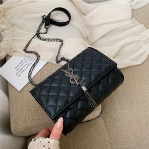 Crossbody сумка для женщин 2020 Роскошная сумка закрылков Кошелек цепи кисточкой Pu кожа Сумка Малый квадрат посыльного сумки