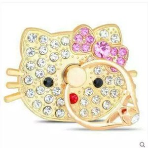 동물의 반지 전화 홀더 고양이 헤드 발레 댄서 블링 다이아몬드 독특한 핸드폰 홀더 아이폰에 대한 패션 패키지와 삼성