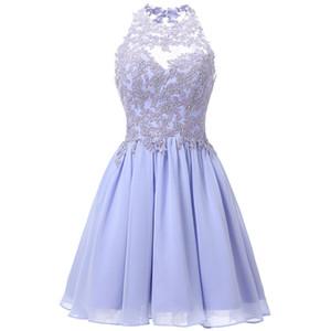 Chiffon Knee Length Homecoming Dresses Halter Keyhole Back Junior Short Prom Dresses Lace Applique Beaded Sweet 16 Dresses for Teens